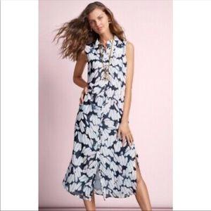 CAbi Maxi Print Button Down Shirt Dress Sz M